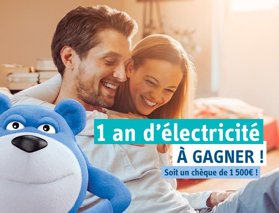1 an d'électricité à gagner ! Soit un chèque de 1500€!